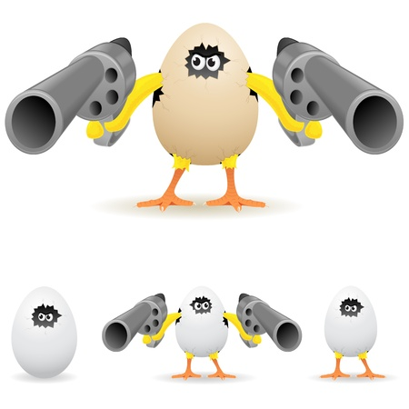 gun sight: Angry chicken with pistols, illustration