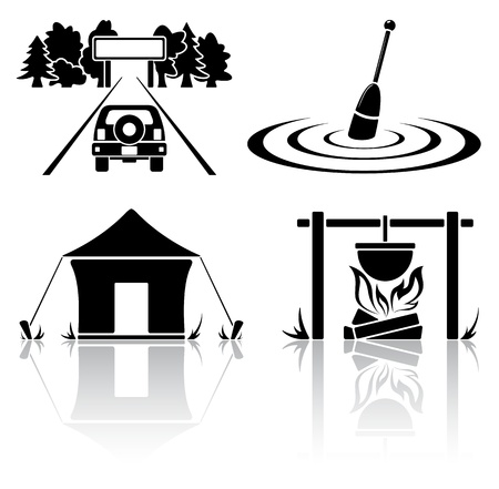 lägereld: Uppsättning av svart camping ikoner, illustration