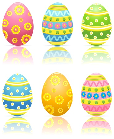 egg cartoon: Set of six colorful decorated Easter eggs, illustration Illustration