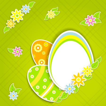 Paper card with Easter eggs and flowers, illustration  Vector