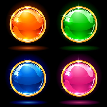 Set of colorful balls on dark background, illustration Vector