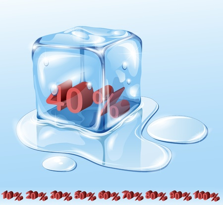 price reduction: Ice cube on water surface, illustration