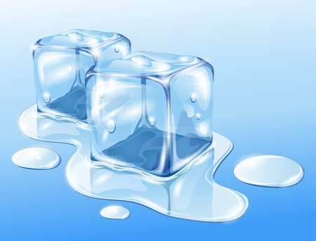 puddle: Ice cubes on water surface, illustration