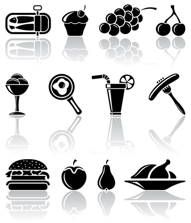 Set of black food icons, illustration Vector