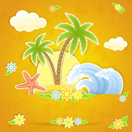 starfish on beach: Tropical island with palms and waves, illustration