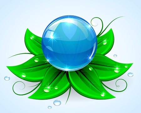 glassy: Blue sphere on green leaves with drops, illustration