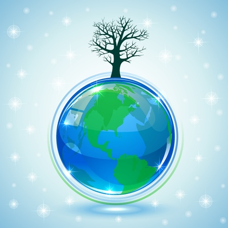 Globe with tree on blue background, illustration Vector