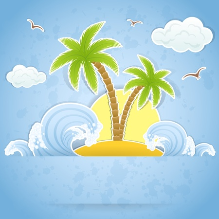 beach sunset: Tropical island with palms and waves, illustration