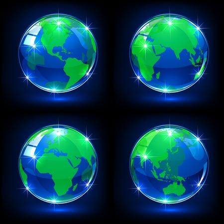 Set of blue globes on dark background, illustration Stock Vector - 13308629