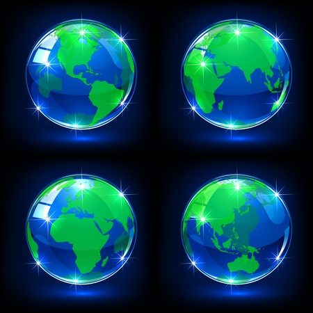 asia pacific: Set of blue globes on dark background, illustration
