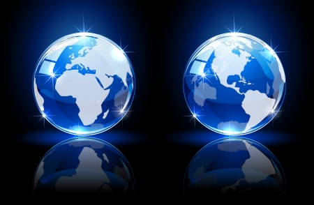 scintillation: Blue shiny globes on dark background, illustration