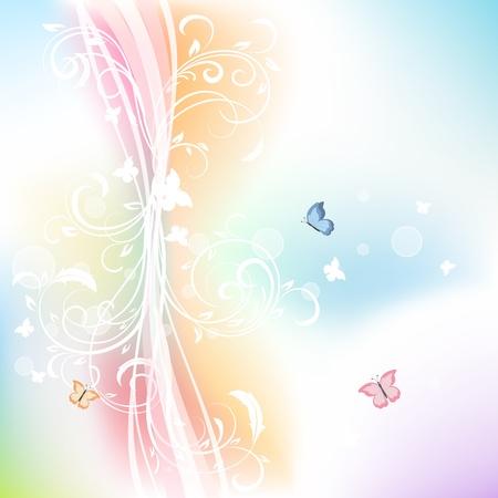 papillon rose: Résumé de fond avec les éléments floraux et papillons, illustration Illustration