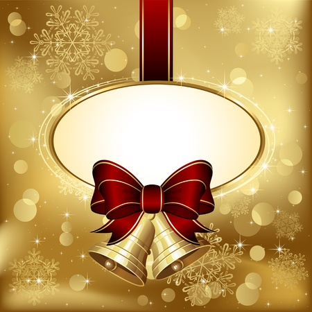 jingle: Background with bells, bow, stars and blurry light, illustration