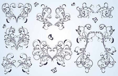 lepidoptera: Set of floral elements for decor, Illustration