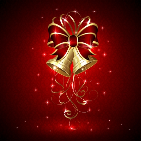 Background with Christmas bells and seamless wallpaper, illustration. Vector