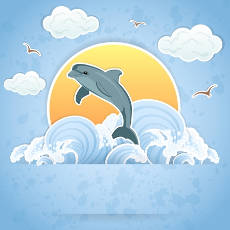 Illustration of a Dolphin in the water. Vector