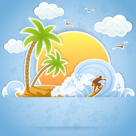 gull: Tropical Island with palms and surfing on waves, illustration.