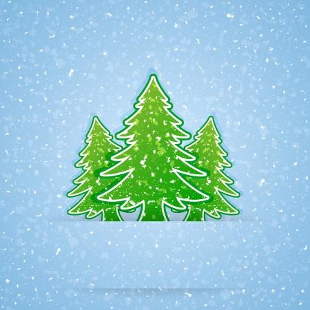 neige qui tombe: Livre d'arbres de Noël et de neige qui tombe, illustration.
