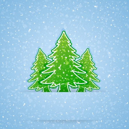 Paper Christmas tree and falling snow, illustration.