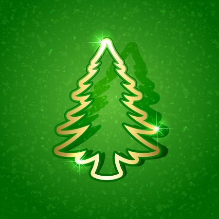 Gold paper Christmas tree on green grunge background, illustration. Vector