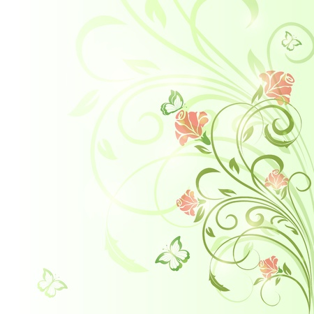 rose butterfly: Abstract Floral ornament for decor, Illustration.