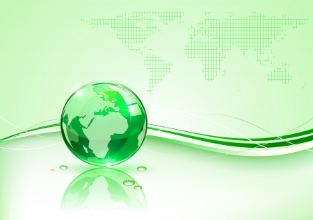Shiny globe on green background, illustration Stock Vector - 13765543