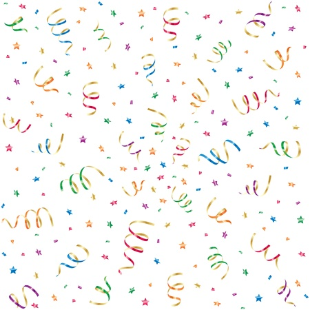 spangle: Seamless background with party streamers and confetti, illustration