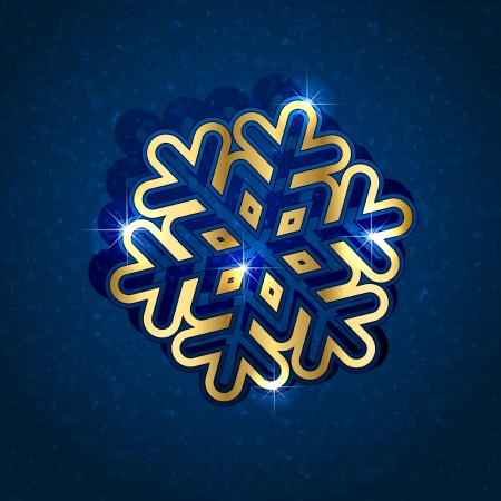 Gold paper Snowflake on blue grunge background, illustration. Stock Vector - 13842646