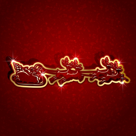 Christmas background with Santa sleigh, illustration. Vector