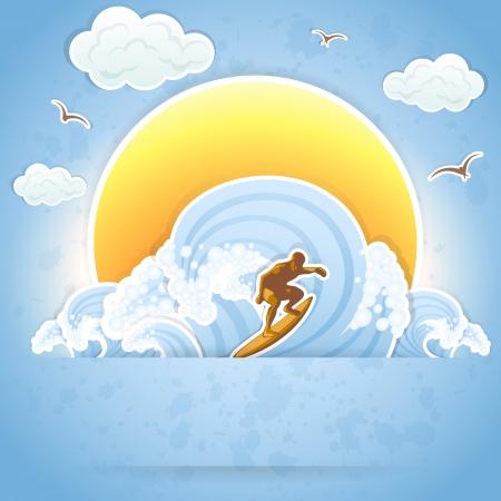 Surfer on a waves, illustration. Vector