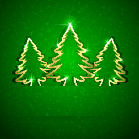 Gold paper Christmas trees on green grunge background, illustration. Vector