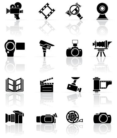 camara de cine: Juego de vídeo en negro y los iconos de la foto, la ilustración