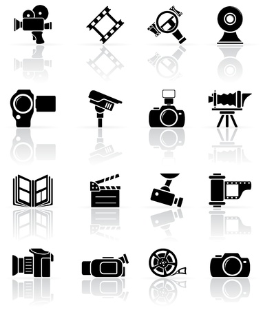 tripod projector: Set of black video and photo icons, illustration