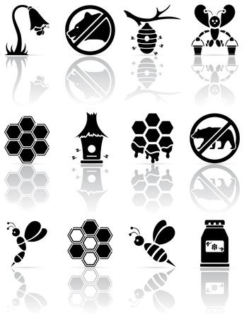 bee: Набор из черных значков пчелы, иллюстрации Иллюстрация
