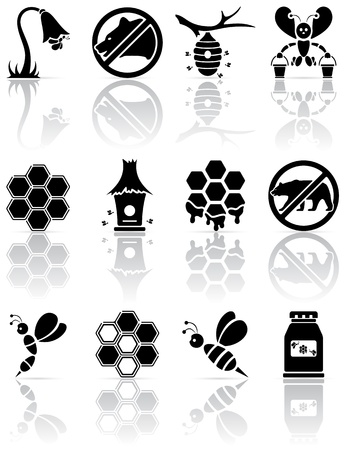 blossom honey: Set of black bee icons, illustration
