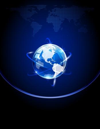 Globo azul brillante sobre un fondo oscuro ilustración, Ilustración de vector