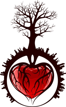 Tree with roots in the form of heart in a city, illustration Vector