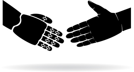 handclasp: Two black hands, human and the robot, illustration. Illustration