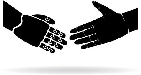 robot hand: Two black hands, human and the robot, illustration. Illustration