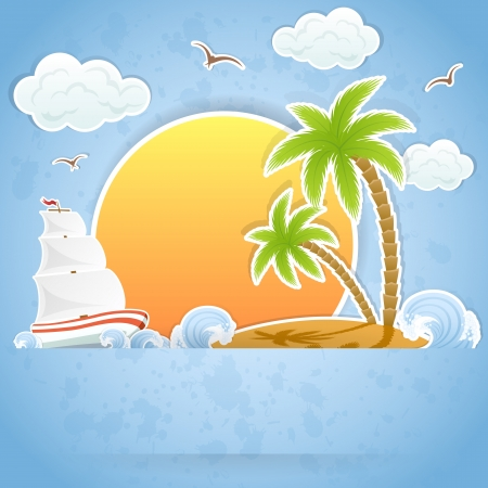 Tropical Island with palms and Ship in ocean, illustration.
