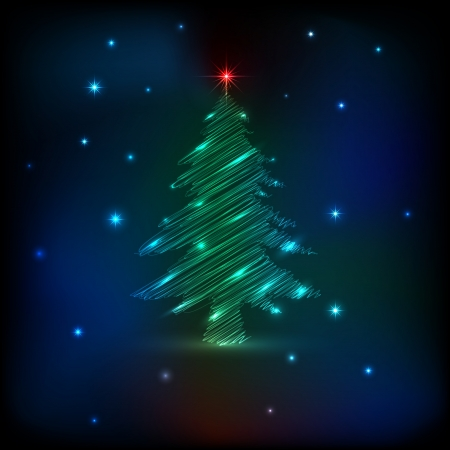 Background with neon Christmas tree, illustration   Vector