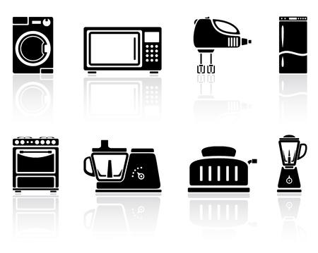 Set of black home appliances icons, illustration.
