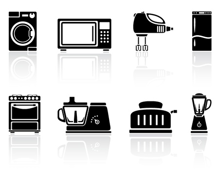 fryer: Set of black home appliances icons, illustration.