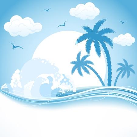 hawaiana: Isla tropical con palmeras y las olas, la ilustración Vectores