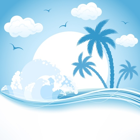 water birds: Tropical Island with palms and waves, illustration