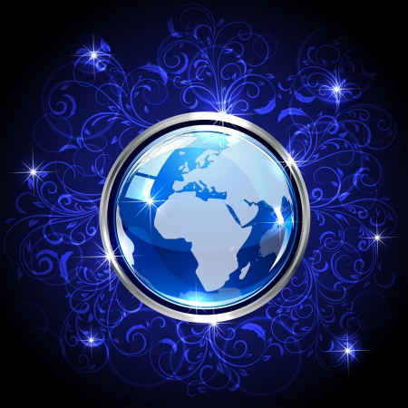 Blue shiny globe on dark background with floral elements, illustration Vector