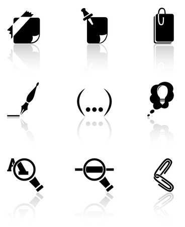 Set of black icons on white background, illustration Vector