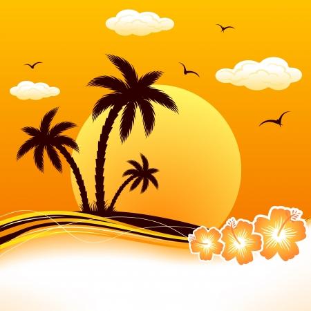 Isla tropical con palmeras y flores, ilustración. Vectores