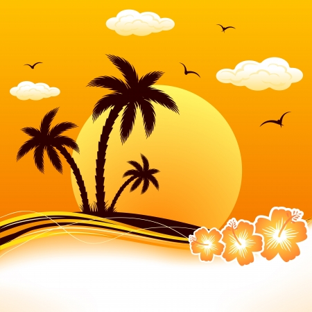 gaviota: Isla tropical con palmeras y flores, ilustración. Vectores