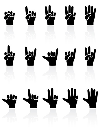 three hands: Set of black Hands icons on white background, illustration